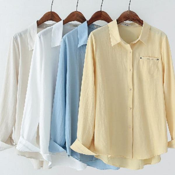 a17680a44f5 가바바 여성 린넨 셔츠 귀여운 포켓 포인트 심플한 솔리드 데일리 여름 린넨 셔츠 G37912